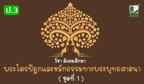 แนวข้อสอบสังคมศึกษา ศาสนาและวัฒนธรรม ป.3 เรื่อง พระไตรปิฎกและหลักธรรมทางพระพุทธศาสนา ชุดที่ 1