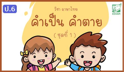 แนวข้อสอบภาษาไทย ป.6 เรื่องคำเป็น คำตาย ชุดที่ 1